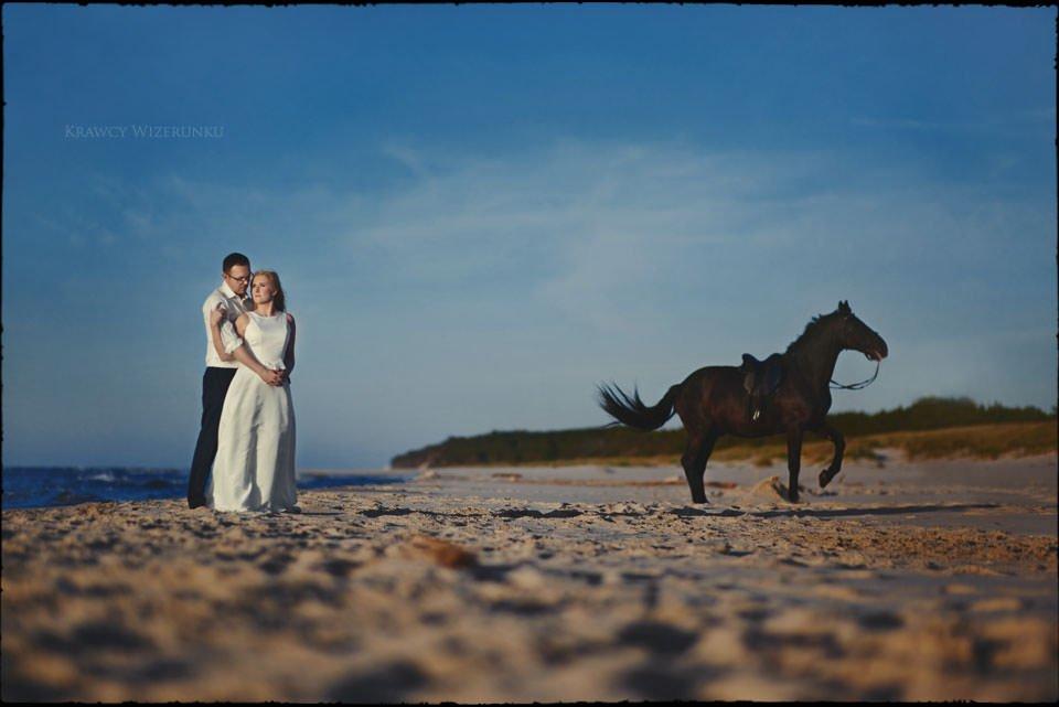 Sesja w kwaterze myśliwskiej | Kasia i Paweł | zdjęcia z wściekłym czarnym koniem w tle 13