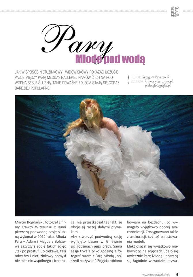 podwodna sesja ślubna