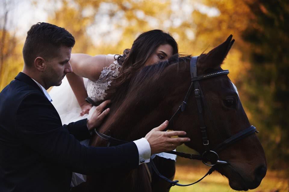 Sesja ślubna z końmi w Otominie 82